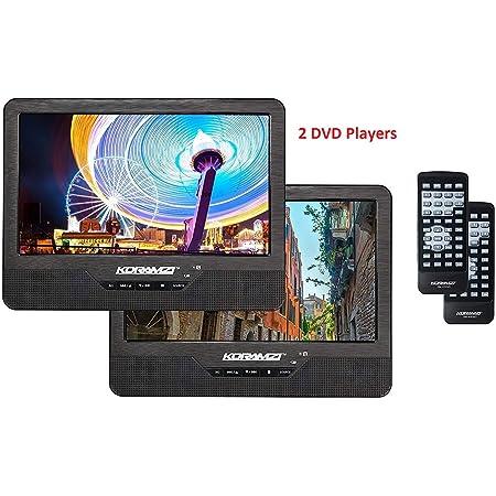 Koramzi DVD-2DVDK9 Reproductor de DVD portátil de 9 pulgadas con pantalla dual dual con batería recargable, adaptador de CA, entrada AV, lector de tarjetas SD y USB, mando a distancia, adaptador de coche, transmisor de infrarrojos, listo para USB, kit de montaje para reposacabezas