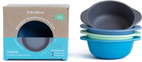 Bobo&Boo Bamboo Kids Snack Bowls, Set of 4 Bamboo Dishes, Non Toxic, Eco Friendly & Stackable Kids Snack Containers, Great Gift for Baby Showers, Birthdays & Preschool Graduations,Coastal