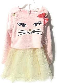 Little Lass Cat Kitty Sherpa Kitty Long Sleeve Tutu Dress (Little Girls) Long Sleeves Pink Sherpa Bottom Tuttu net Design ...