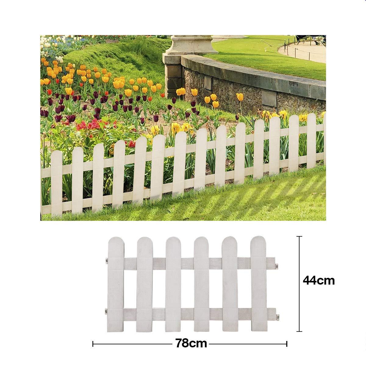 Comercial Candela Valla para Jardín Plástico PVC Diseño Granja para Decoración y Proteger los Bordes del Césped, Patio o Jardineras en Tierra 4 Unidades: Amazon.es: Jardín