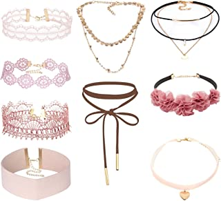 Tpocean 9 PCS Pink Lace Choker Necklace Set Gothic Floral Tattoo Gold Chain Choker Necklace for Women Girls 90s