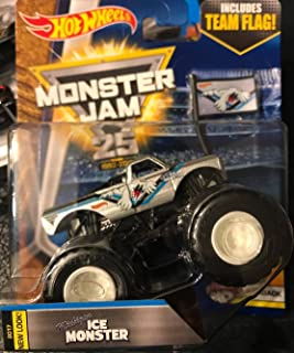 2017 Hot Wheels Monster Jam Flashback Michigan Ice Monster - With Flag