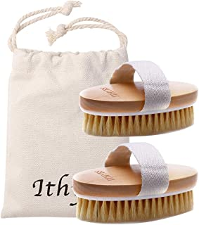 2PCS Ithyes Dry Brushing Body Brush Exfoliating Brush Natural Bristle bath Brush for Remove Dead Skin Toxins Cellulite,Improves Lymphatic Functions,Exfoliates,Stimulates Blood Circulation