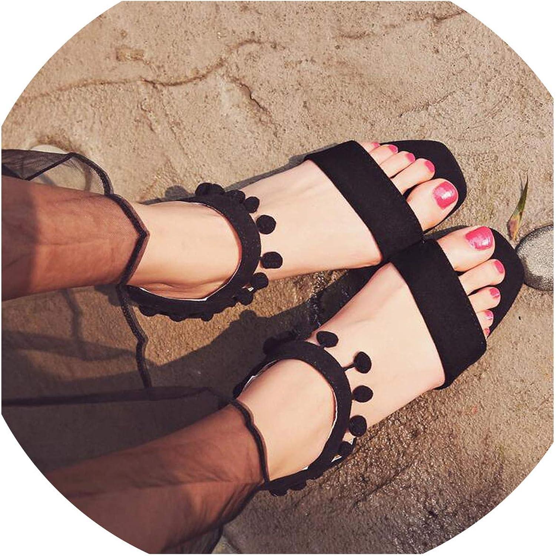 JIESENGTOO Woman shoes 2019 Summer Tassel Ball Flock Fringe Sandal Heels Thick High Heels Sandals