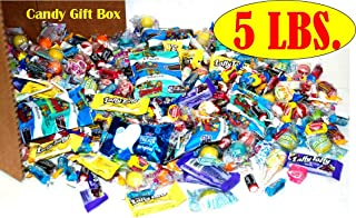 Assorted Party Mix Box 5lbs Individually wrapped candies like Starburst, Airheads, Laffy Taffy, Cry Babies, Rice Krispy Treats, Tootsie Roll, Jolly Rancher, Dubble Bubble, & More.