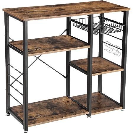 "VASAGLE ALINRU Kitchen Baker's Rack, Coffee Bar with Wire Basket 6 Hooks Microwave Oven Stand Metal Frame Wood Look, 35.4"", Rustic Brown"