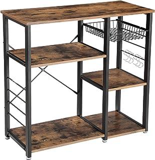 VASAGLE ALINRU Kitchen Baker's Rack, Coffee Bar with Wire Basket 6 Hooks Microwave Oven Stand Metal Frame Wood Look, 35....