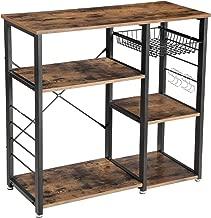 VASAGLE Industrial Kitchen Baker's Rack, Coffer Bar, Microwave Oven Stand Metal Frame, Wire Basket 6 Hooks Mini Oven, Spices Utensils, Simple Assembly Wood Look UKKS90X