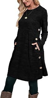 Aokosor Jumper Dress for Women Long Sleeve Dress Ladies Button Tunic Dress with Pockets