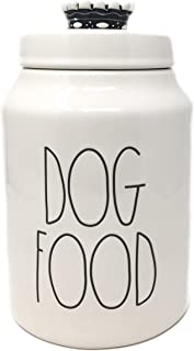 Rae Dunn by Magenta Dog Food Ceramic LL Pet Treat Canister with Crown Lid Handle