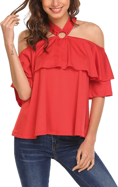 Dealwell Women Off The Shoulder Halter Neck Half Sleeve Shirt Blouse Tops SXXL