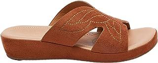 Shoexpress Womens Embellished Open Toe Slide Sandals with Flatform Heels
