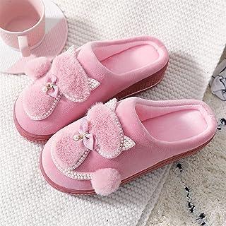 Syczdntx Indoor Shoes gato zapatillas plataforma de las señoras lindas mujeres de algodón zapatillas for las mujeres de in...