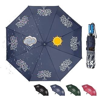 CARRYWON Color Changing Auto Open Folding Umbrella, 8 Ribs Waterproof Winfproof Rain Umbrella for Men Women Adult, Tree of Life Umbrella(Four Colors)