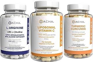 Ultra Strength Weight Loss & Immune Support Bundle - Liposomal Vitamin C, Turmeric & L- Arginine, Antioxidant and Antiinfl...