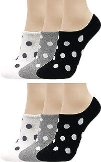 Calcetines tobilleros para mujer, diseño de lunares, antideslizantes, de corte bajo, 6 colores, 3 a 12 pares
