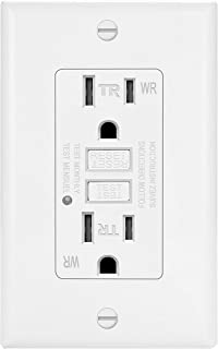 ELECTECK Weather Resistant GFCI Outlet, Ground Fault Circuit Interrupter with LED Indicator, 15-Amp Tamper Resistant Receptacle, Decorator Wall Plate Included, ETL Certified, White