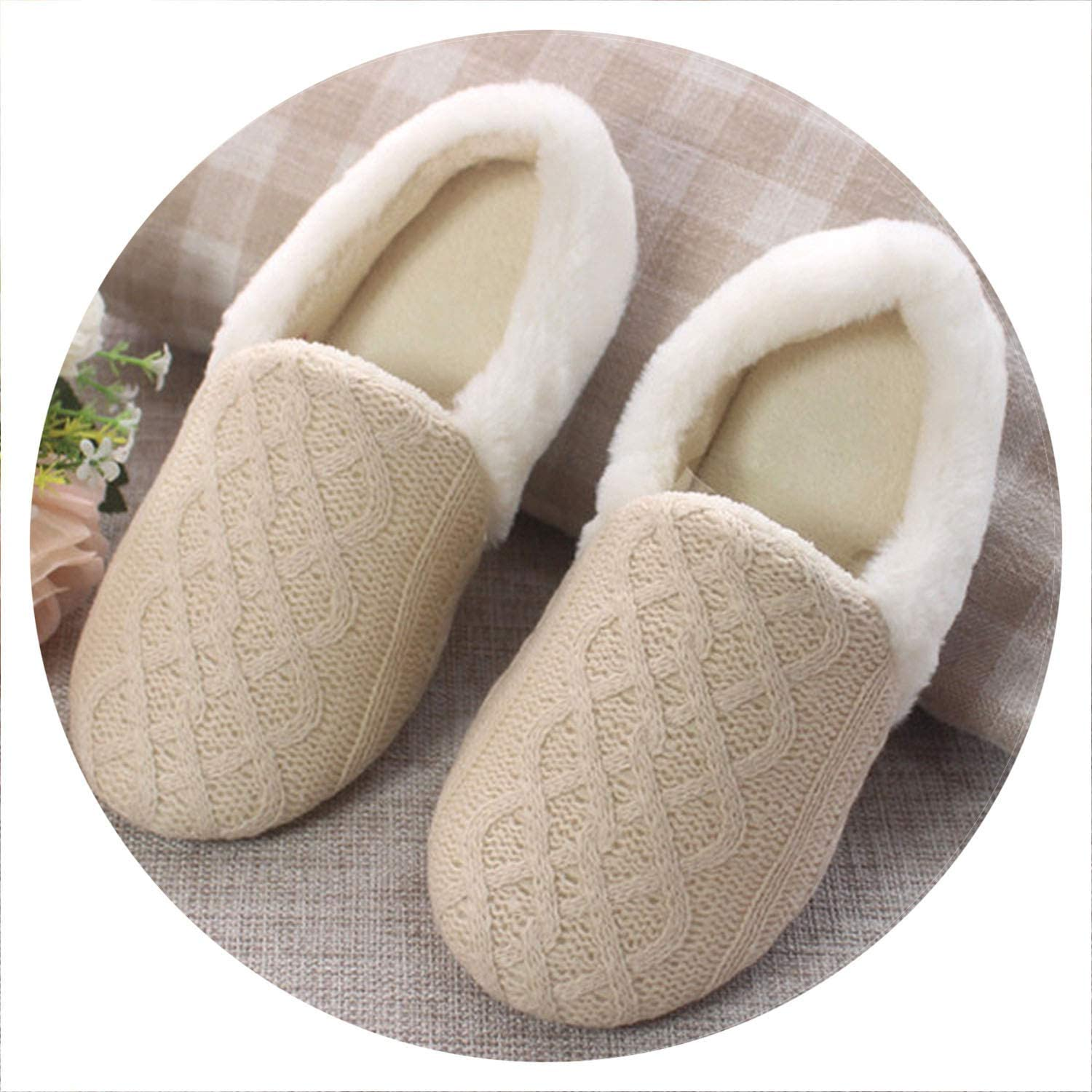 Together to create a miracle New Spring Autumn Winter Home Cotton Plush Knitting Slippers Women Indoor Floor Flat shoes Girls Gift