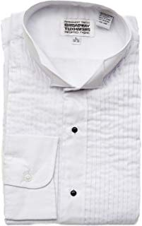 Men's Wing Tip White Tuxedo Shirt 1/4 inch Pleats by