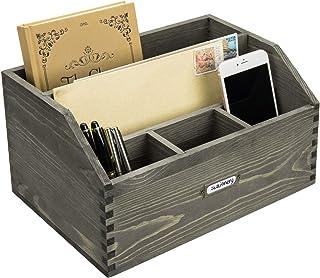 $29 » MyGift 5-Slot Vintage Gray Wood Large Desktop Document, Folder and Office Supplies Organizer with Antique Metal Label Holder