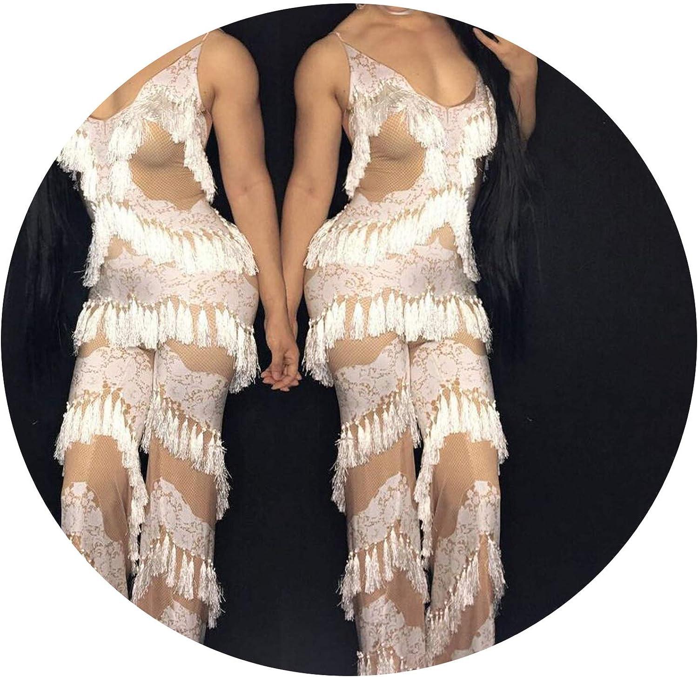 Ionianstorepants Sexy Lace Tassel Women Jumpsuits White Spaghetti Strap