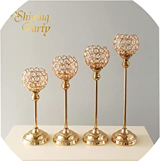 Crystal Candle Holder, Metal Gold Wedding Centerpiece, Candlestick, Wedding Party Home Christmas Decoration,1 Piece 40cm