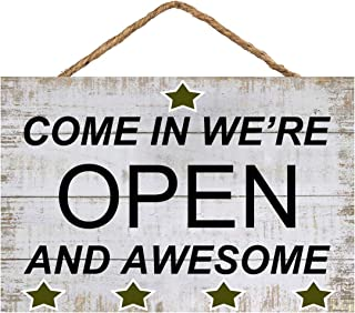 Gooapds Vintage Wood Sign Come in We`re Open and Awesome Door Wall Art Hanging Plaque Decor 8X12 Inch