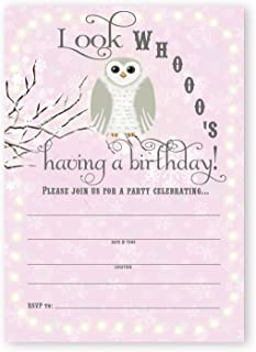 POP parties Snowy Owl Birthday Party Invitations- 10 Invitations + 10 Envelopes - Pink