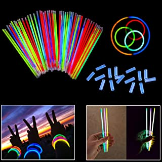 Dazzling Toys 8 Inch Glow Stick Bracelets - 100 Pack in Assorted Colors with 100 Connectors - Glows for 8-12 Hours