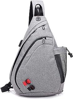 FANDARE Leicht Brusttasche Sling Rucksack Schultertasche mit USB Chest Bag Crossbody Umhängetasche Sporttasche für Herren ...