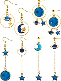4 Pairs Exaggerated Planet Drop Earrings Plume Pendant Long Chain Drop Dangle Earrings Shining Stars Tassel Earrings for W...