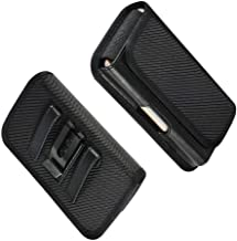 DFV mobile - Horizontal Metal Belt Clip Holster with Card Holder in Textile and Leather for Alcatel Pixi 4 (5) - Black