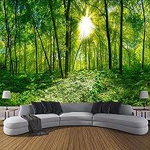 XIAOHUKK Papel tapiz autoadhesivo 3d mural árbol verde bosque arte mural calcomanías de pared sala de estar dormitorio dec...