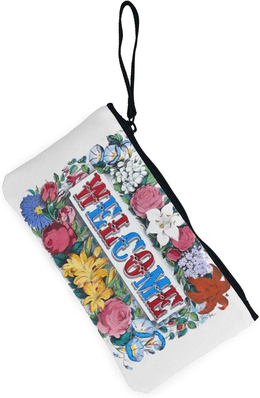 AORRUAM Flower Welcome Canvas Coin Purse,Canvas Zipper Pencil Cases,Canvas Change Purse Pouch Mini Wallet Coin Bag