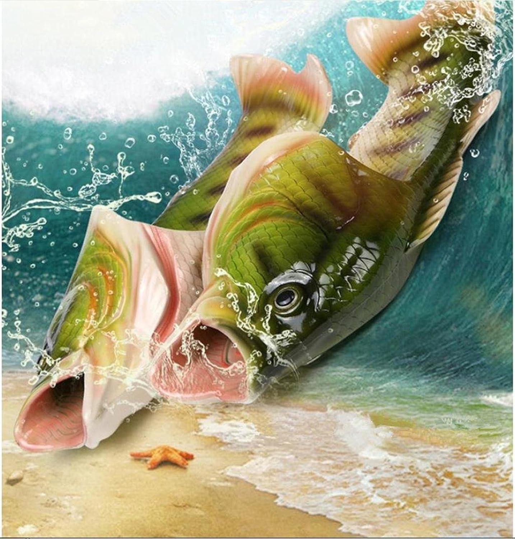 KKLL Creative Fish shape Flip flop Personality Home Imitation fish Beach shoes Summer Men and women Sandals Green , 36