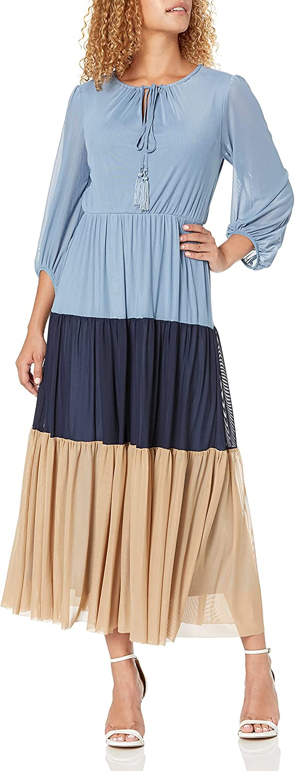 Taylor Dresses Women's Long Sleeve Round Neck Dress with Self Ties & Tassel Ends