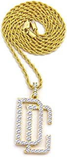 Shiny Jewelers USA Mens New ICED Out Dream Chaser DC PENDENT Box,Rope,Cuban Chain Necklace Hip HOP