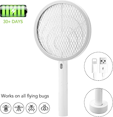 Smartor Electric Bug Zapper Fly Swatter Racket Rechargeable Insect Swatter Zapper Electric Handheld Mosquito Killer - Wasp, Fruit Fly, Insect Trap Racket for Indoor,Camping and Outdoor Control