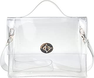 547ca8c84c7 Clear Bag with Turn Lock Closure Cross Body Bag Women s Satchel Transparent  Messenger Shoulder Handbag