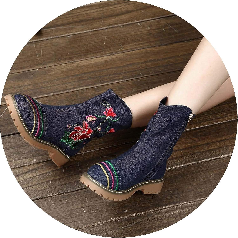 Juvenile shoulder 2018 Winter Women Mid Calf Boots Embroider Flower Denim Low Heel Warm Casual shoes