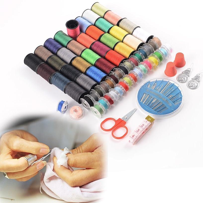 NeeJee Sewing Kit Thread Threader Needle Tape Measure Scissor Thimble Set-Pack of 100