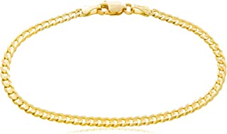 Solid Gold Curb Chain Bracelet 14K Yellow Gold 3mm Wide Available in Lengths 7 to 8-1/2