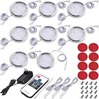 Lvyinyin Under Cabinet Lighting Kit, Dimmable Wireless RF LED Control, Linkable Puck Lights, AC 120V to DC 12V Wall Plug Adapter, 8 Lights, Daylight, White Cable