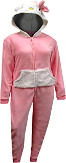 Women's Pink One Piece Hooded Pajama