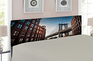Ambesonne New York Headboard, Manhattan Bridge Seen from Narrow Alley Island Borough Globally Influential Town NYC, Upholstered Decorative Metal Headboard with Memory Foam, for Full Size Bed, Blue Red