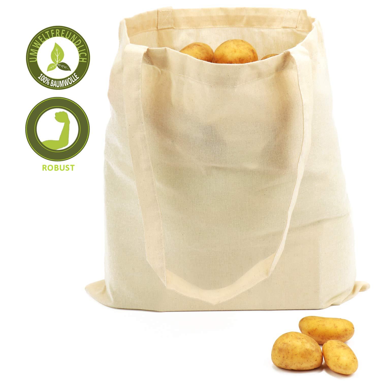 com-four® 12x Bolsa de algodón - Bolsa de Compra Reutilizable - sin impresión, Ideal para Pintar - Oeko-Tex® Standard 100 (12 Piezas - 38x42cm - Mango Largo): Amazon.es: Hogar