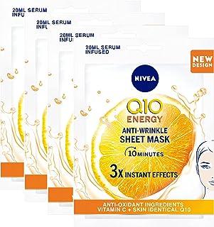 NIVEA Q10 Plus C Anti-Wrinkle Face Sheet Mask, Vitamin C, 3+1 Free