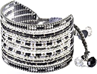 Beaded Cuff Style Friendship Bracelet with Adjustable Macrame Clasp, Black Multi
