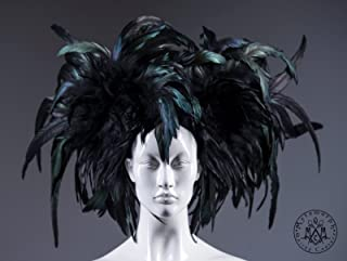 Black Mardi Gras headdress / Rooster feather headpiece / Dark fashion headdress / Burning man headpiece / Burlesque