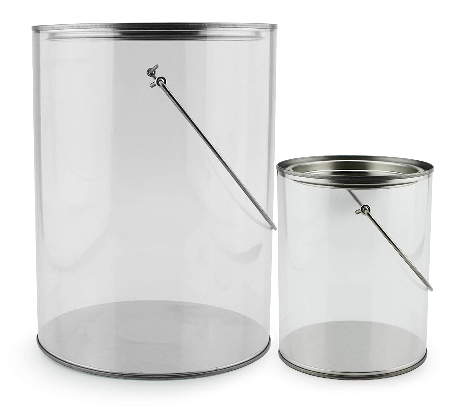 Clear Plastic Paint Cans (Gallon and Quart Combo Pack, Set of 2); Arts & Crafts Paint Buckets for Decorative & Party Use